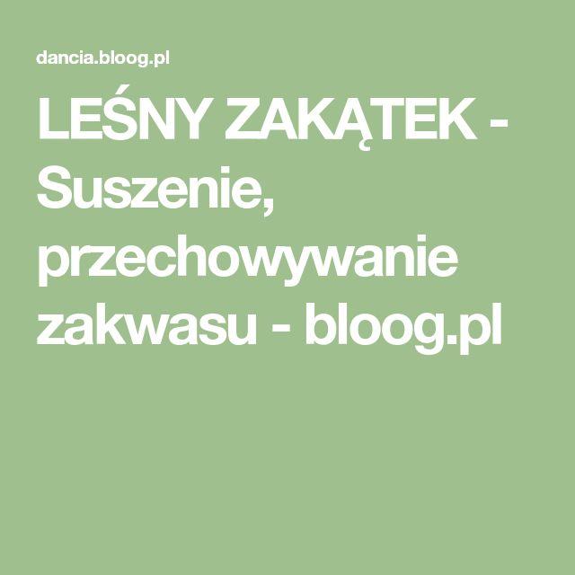 LEŚNY ZAKĄTEK - Suszenie, przechowywanie zakwasu - bloog.pl