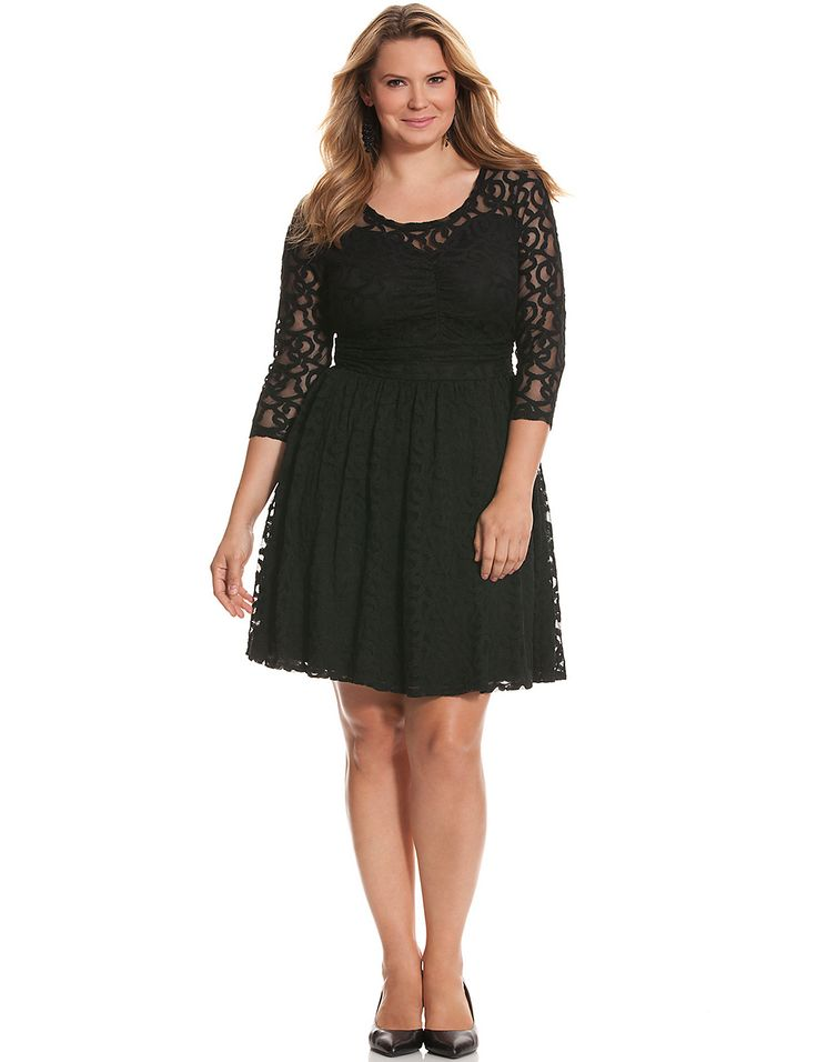 Lace fit & flare dress.