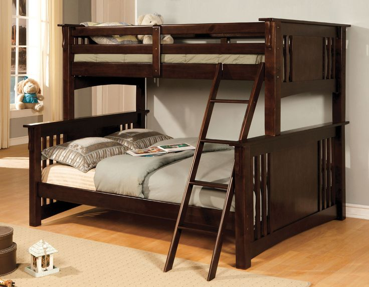 Latest Furniture of America Spring Creek Transitional Mission Dark Walnut Twin over Queen Bunk Bed - Fresh bunk bed world Luxury