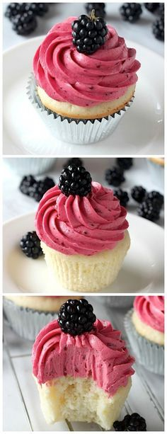 Lemon Cupcakes with Blackberry Buttercream - You'll impress everyone with a batch of these beautiful cupcakes!