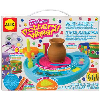 Alex Toys - Deluxe Pottery Wheel Kit. Make and decorate your own clay pots! Includes pottery machine with foot pedal, a variety of shaping tools, paints, gems, pottery machine with foot pedal, air-dry clay, glue, AC adapter and more. Fun for boys and girls over 8 years old.