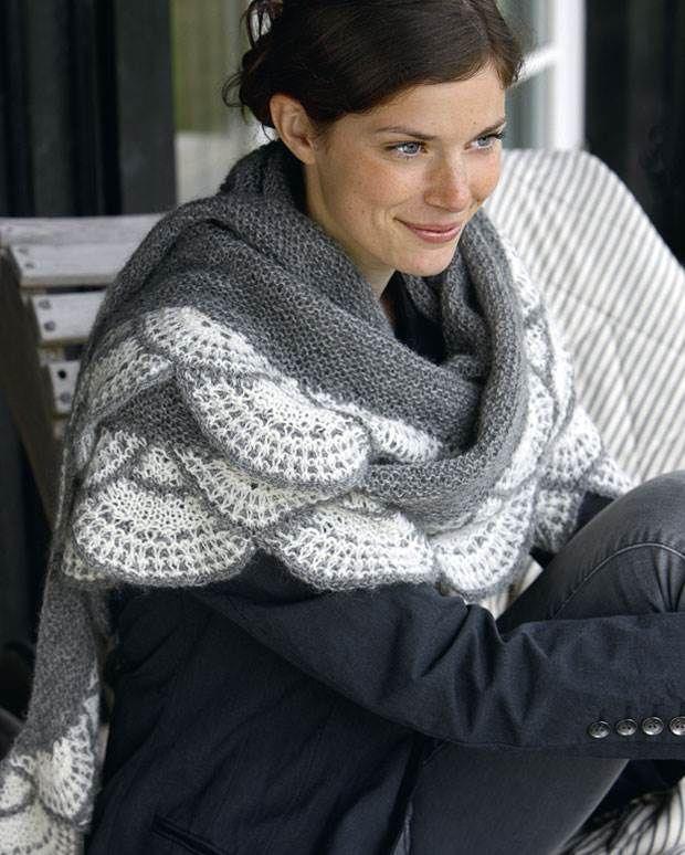 Strik selv: Gråt sjal med vifter fra Hendes Verden,  free pattern in danish