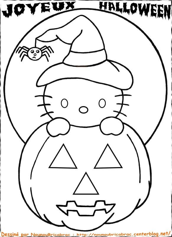 Top 123 ideas about coloriages halloween on pinterest free printable coloring and coloring - Coloriage hello kitty ...
