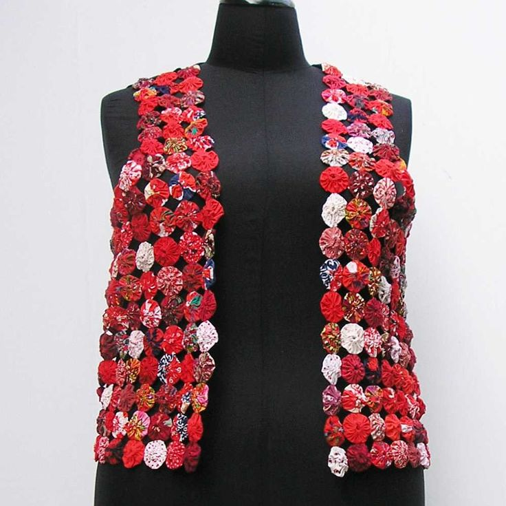 Red yo yo vest, plus size yo yo vest, plus size vest, plus size waistcoat, suffolk puff vest, vintage fabric vest, au 20 uk 18 us 16 M L XL by Rethreading on Etsy