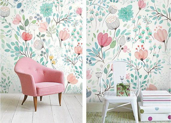 4 kleurenaquarel bloemen behang frisse voorjaar bloem &