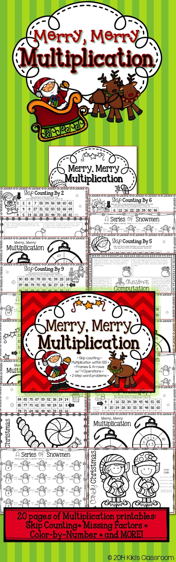 Third Grade Christmas Math • 20 fun, seasonal, MULTIPLICATION printables! Cute and engaging for the holiday season