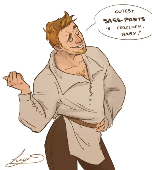 """lucydoesart: """" Only just started Dragon Age Origins (finally… after completing DA:I…) but I already really appreciate Alistair's witty comments :P """""""