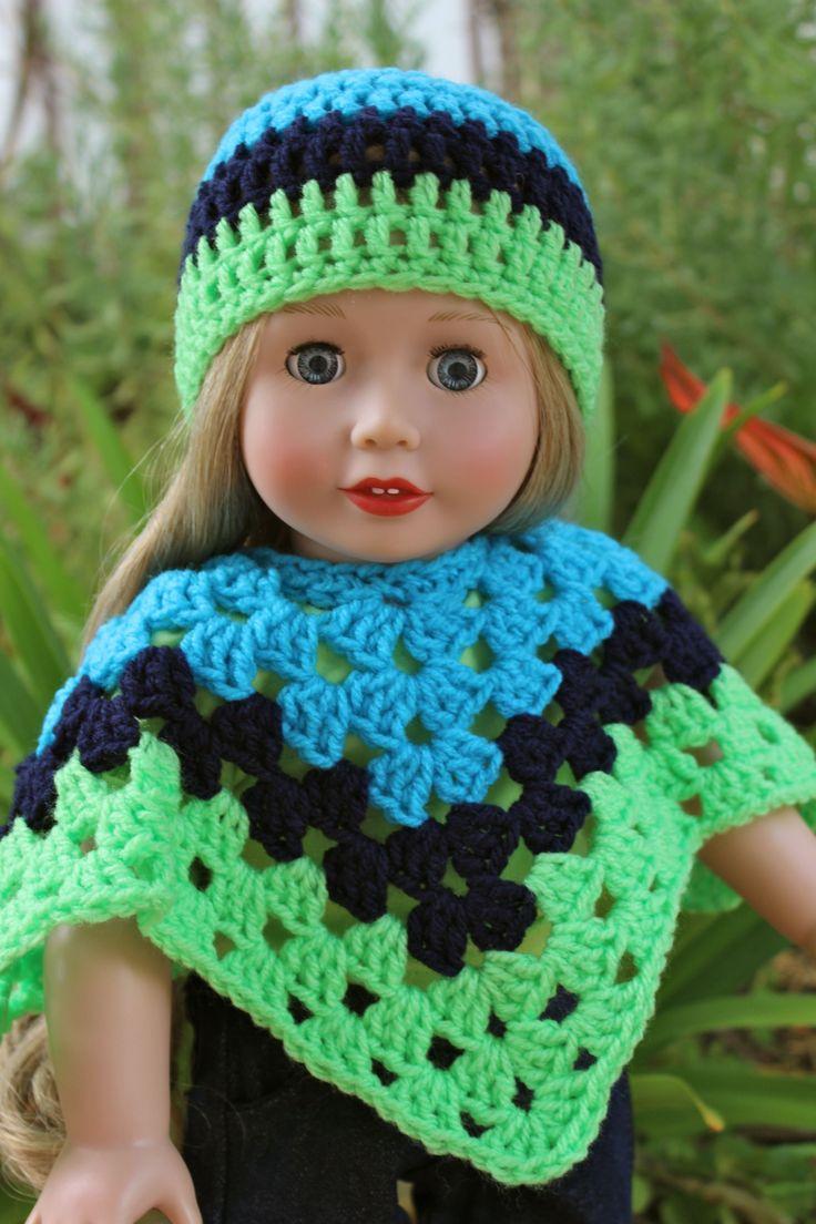 """18"""" Doll Cadence Rose in a hand crochet hat  poncho set. www.harmonyclubdolls.com"""