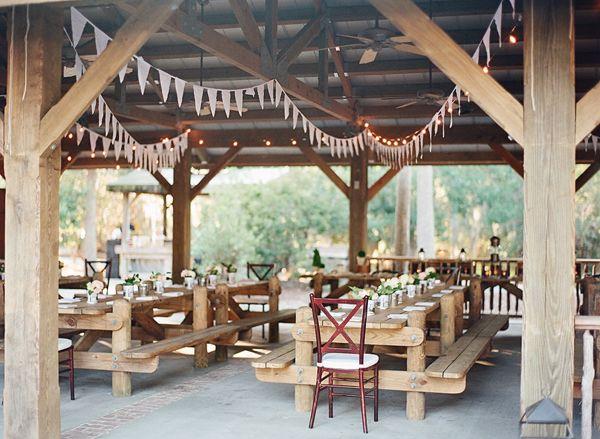 bunting in a pavilion | Kay English #wedding