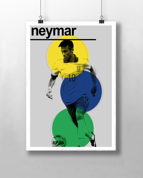 Neymar - Brazil Print - FC Barcelona  This is a stylish poster print of Neymar. This FC Barcelona and Brazilian footballer is known for his dribbling skills, acceleration, finishing and ability with both feet. His playing style has earned him critical acclaim, with fans, media and former players drawing comparison to former Brazil forward Pele. Styled with typography with a modernist twist it features Neymar in his iconic Brazil strip.   Fit to grace your child's bedroom or your man cave.