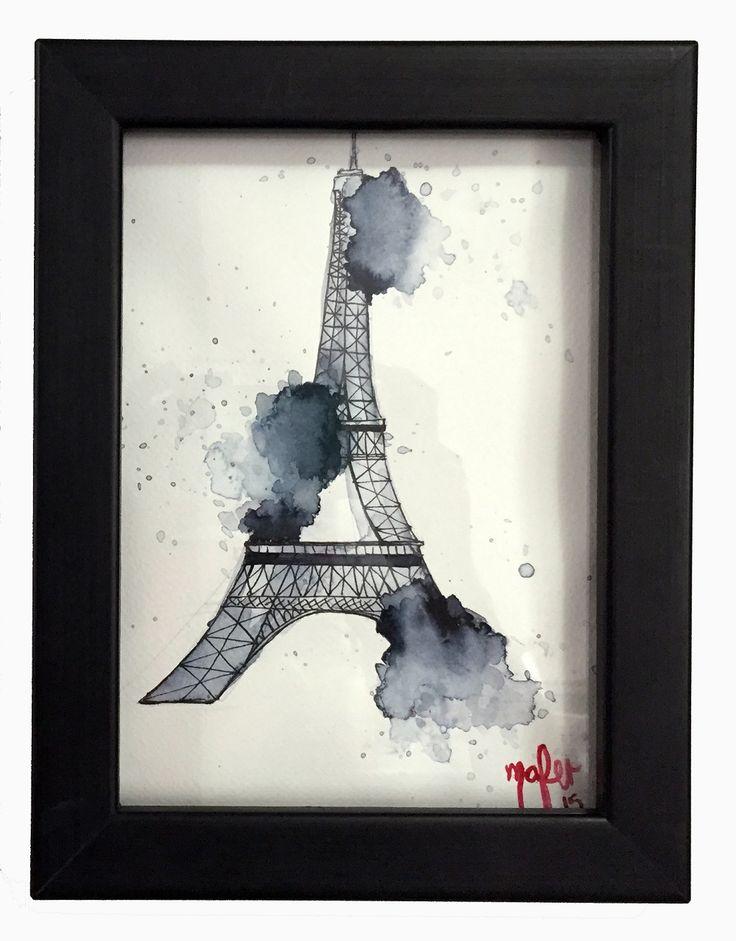 Torre Eiffel, cuadro decorativo acuarela #Art3Mas