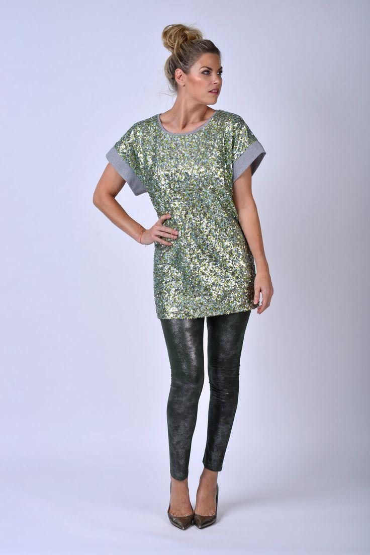 Dexters | Fashion bij Polly Magoo Eeklo Top met pailletten, legging brons ook in rok