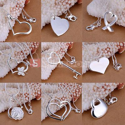 Women Fashion 925 Sterling Silver Love Heart Pendant Necklace Jewelry(No Chains)