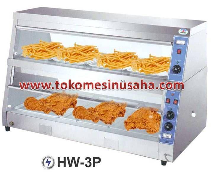 Food Warmer adalah rak yang didesign khusus untuk menghangatkan makanan siap saji, seperti pizza, bakmi, aneka lauk dan sayur.  Type : HW-2P  Dimensi : 152 x 75 x 89 cm  Daya : 220 V / 1 P  Power : Dry heater atas : 2000 W  Dry heater bawah : 2000 W  Wet heater bawah : 1200 W  Berat : 60 Kg