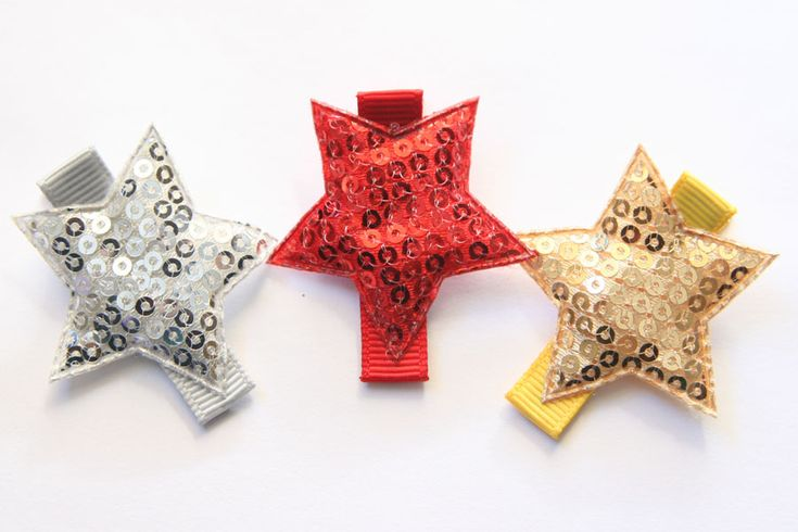 Christmas Stars Sequin Appliques Clips