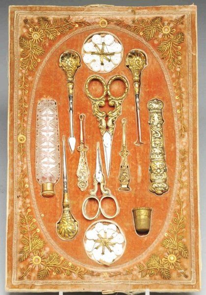 Rare 10-Piece Victorian Sewing Kit.                                                    Includes a pair of scissors, a pair of ear wax extractors, one needle case, one perfume bottle, one thimble, and other sewing accessories.Condition (Excellent). Size Case: 11 - 1/8 x 7 - 1/4.