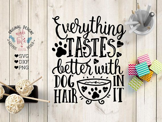 Dog svg, Everything tastes better with Dog Hair in it Cut File in SVG, DXF, PNG, Pets SVG, Dog Quotes, Pet Quotes.