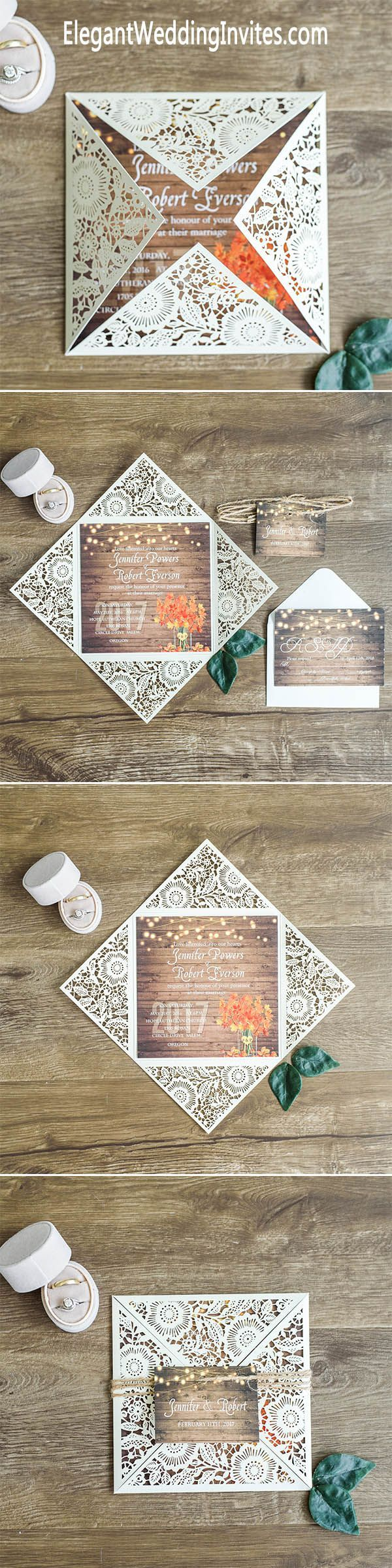 wedding invitations for less than dollar%0A      for     sets of invitations  Rustic Stringlights Maple Leaf Laser Cut Wedding  Invitations With