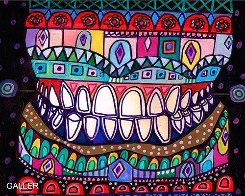 FREE SHIPPING- Teeth Original Painting by Heather Galler Abstract Anatomy Dental Dentist Art Oddities Dentistry Thank you so much to all my