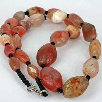African Trade Agate Bead NecklaceMaterial:Quartz Like AgateOrigin:African Trade BeadsCondition:Worn Robust ConditionAge:Est 300 - 1000 Years