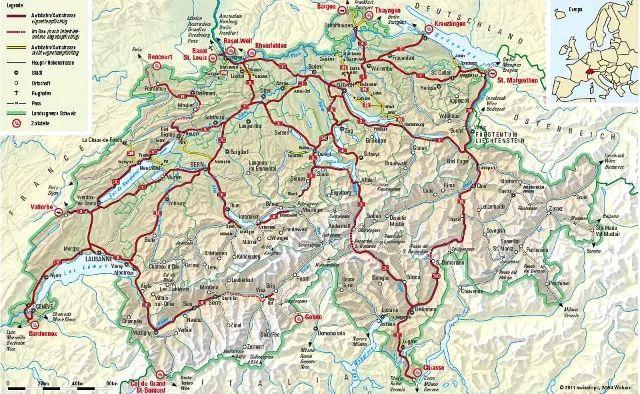 Swiss motorway map showing toll roads