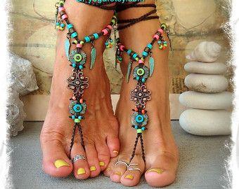 BOHO chic sandalias Descalzas colorido verano pie Joyería Turquesa tribales pies gitana sandalia Angel ala naturaleza de boda de jardín GPyoga