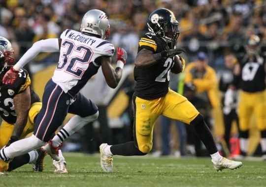 Patriots vs. Steelers:     October 23, 2016  -  27-16, Patriots  -     Oct 23, 2016; Pittsburgh, PA, USA;  Pittsburgh Steelers running back Le'Veon Bell (26) runs the ball against New England Patriots defensive back Devin McCourty (32) during the second half at Heinz Field. The Patriots won 27-16. Mandatory Credit: Jason Bridge-USA TODAY Sports