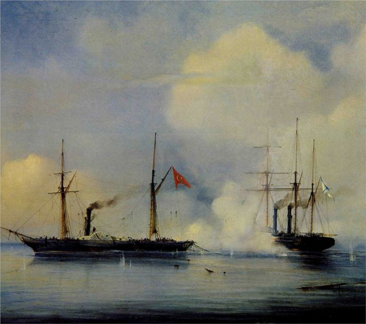 Russian steam frigate Vladimir and Turkish steam frigate Pervaz - Alexey Bogolyubov