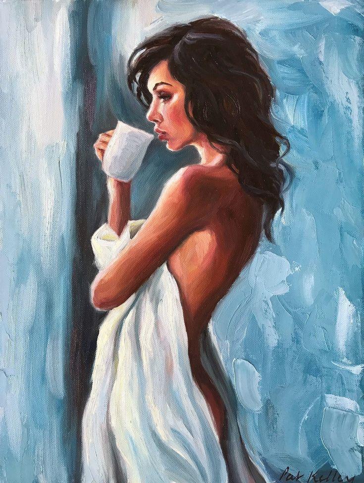 Weibliche Figur Malerei, Akt, Frau mit Kaffee, Expressionist, Schöne Frau, …