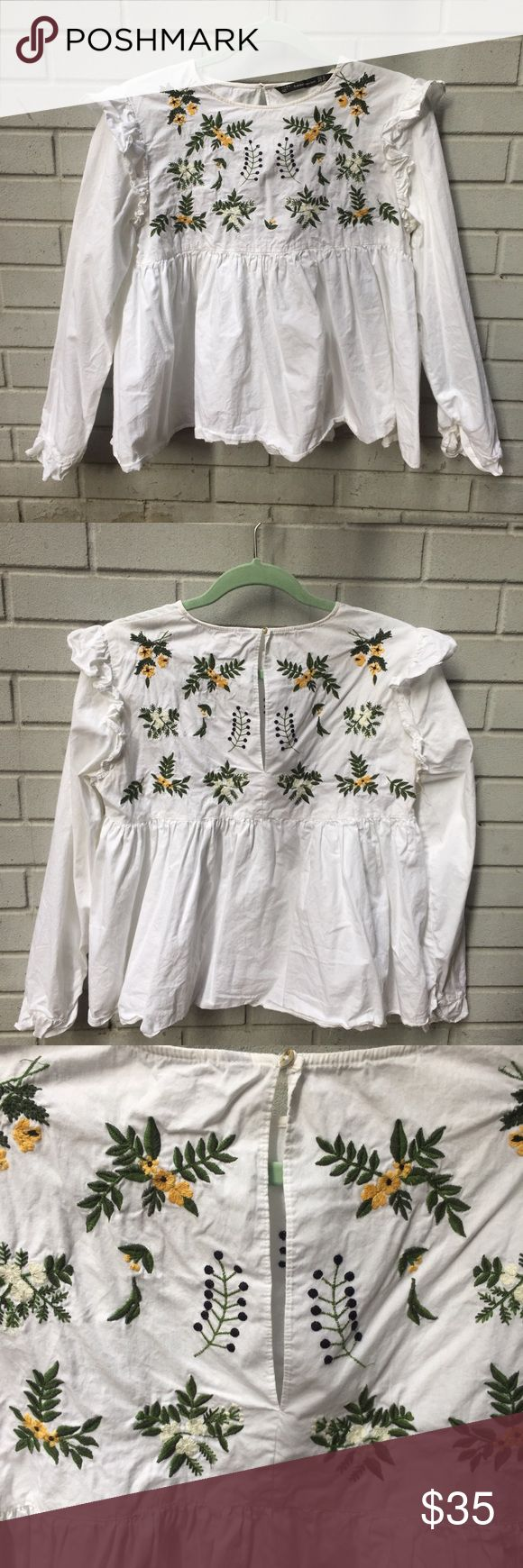 ZARA Women Sweet Embroidery Ruffles Shirt  Embroidered - Ruffles - Shirt - Long Sleeve - Floral - Sweet baby doll look Zara Tops Blouses