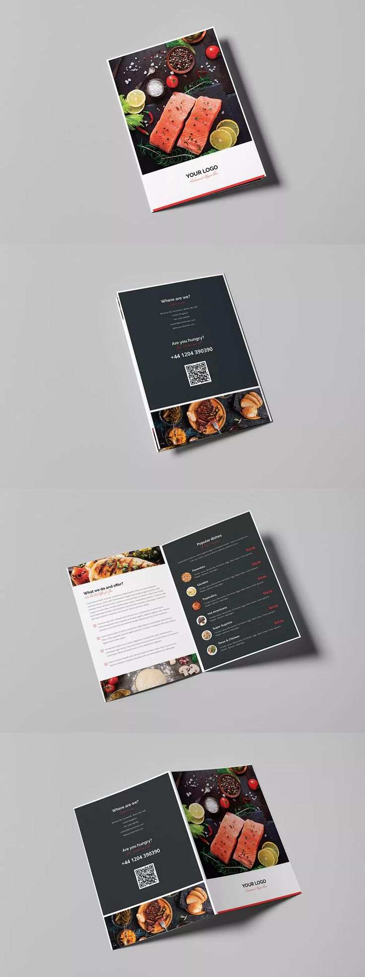 Brochure – Restaurant Bi-Fold Template PSD A4 and US Letter Size