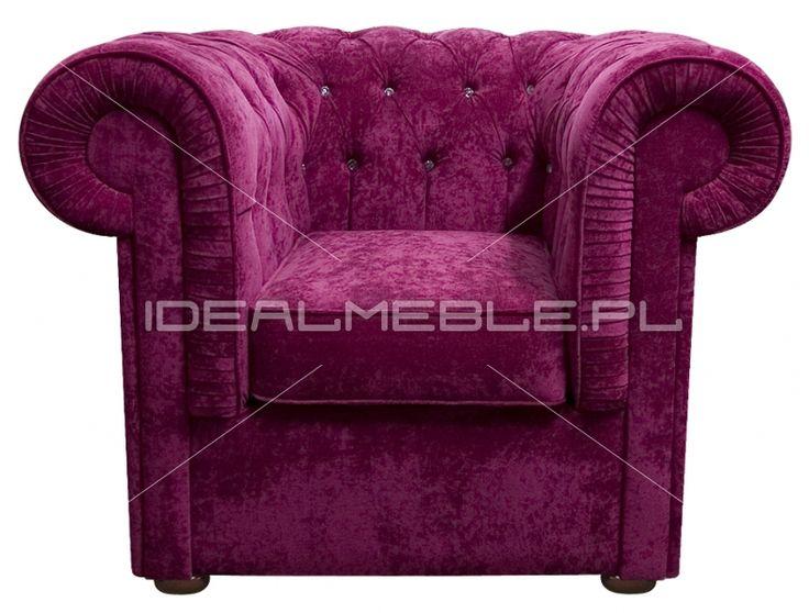 fotel Chesterfield, styl angielski, armchair, głęboko pikowany, plusz, velvet, różowy, perpur, pink, fuksja, kobiecy, elegancki, z kryształkami Swarovskiego   154412d57_fotel_march_z_krysztalkami_swarovskiego.jpg (791×600)