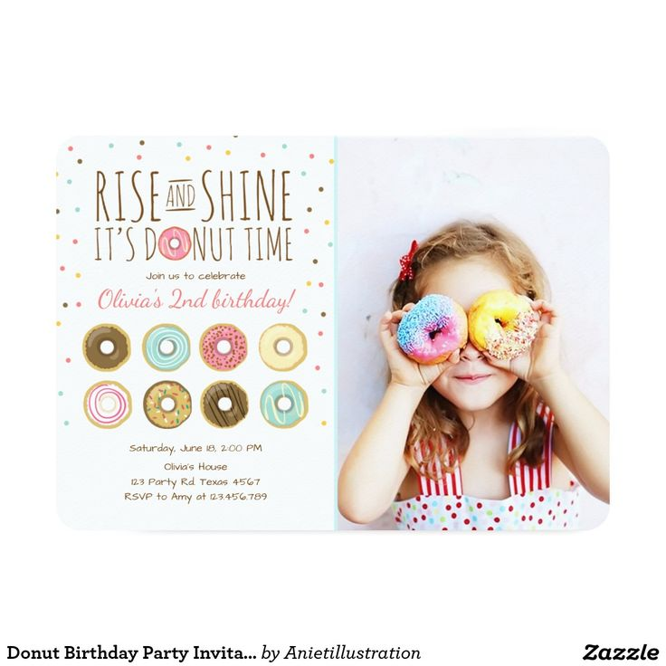 happy birthday invitation pictures%0A Donut Birthday Party Invitation Rise and Shine