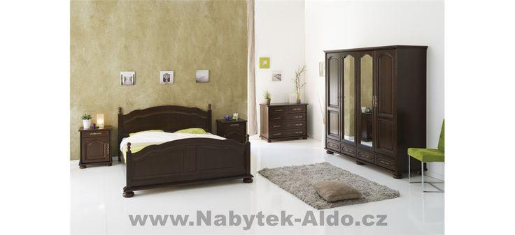 Rustikální ložnice v barvě tmavého dřeva