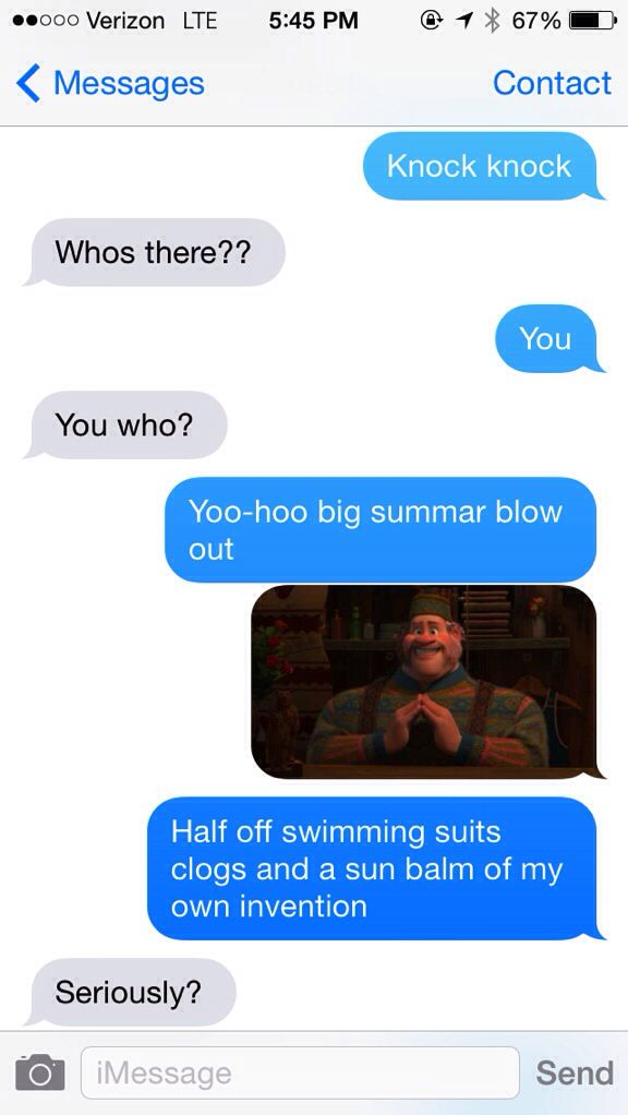 Disney frozen knock knock joke  Big summer blow out Funny text message
