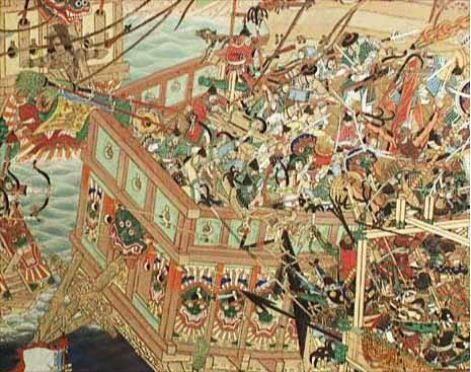 The Battle of Noryang, which took place 16 Dec. in 1598. It was the last major battle of the Japanese invasion of Korea in 1592–98. The allied Chinese and Korean fleets inflicted a severe defeat on the Japanese navy - indeed, over half of the 500 Japanese ships were either captured or destroyed.