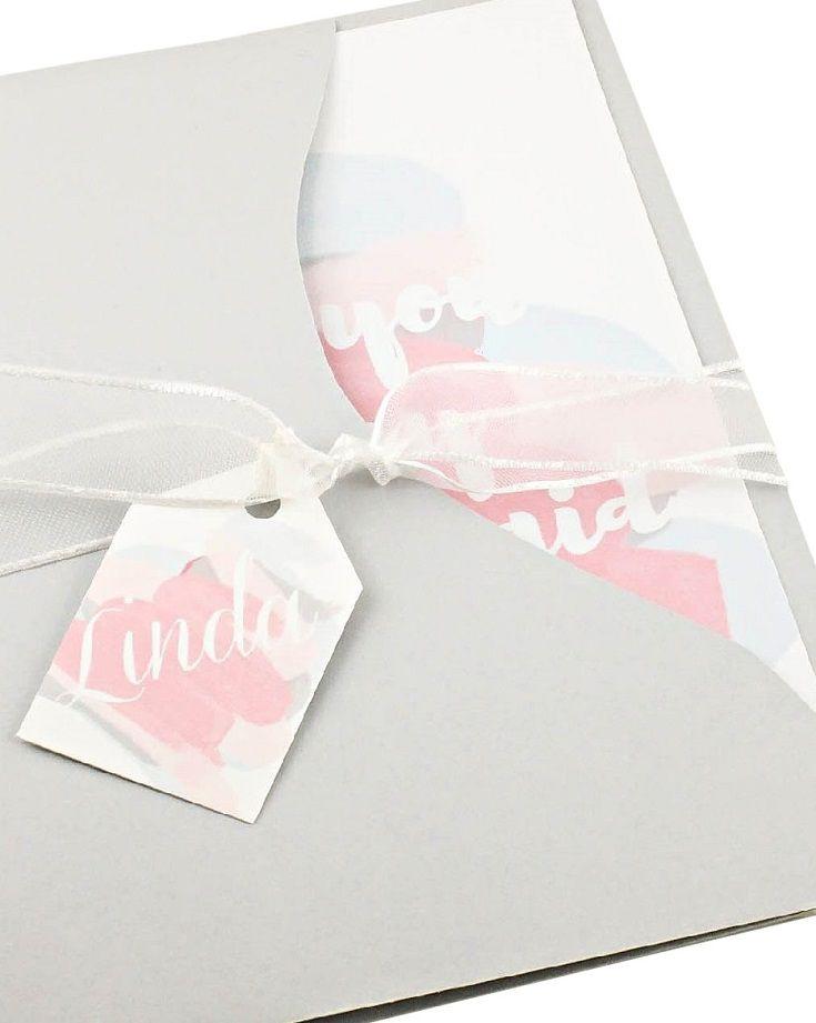 Bridesmaid Proposal Card with Tag Bridesmaid Invitations in Grey w/white ribbon Be my Bridesmaid Card