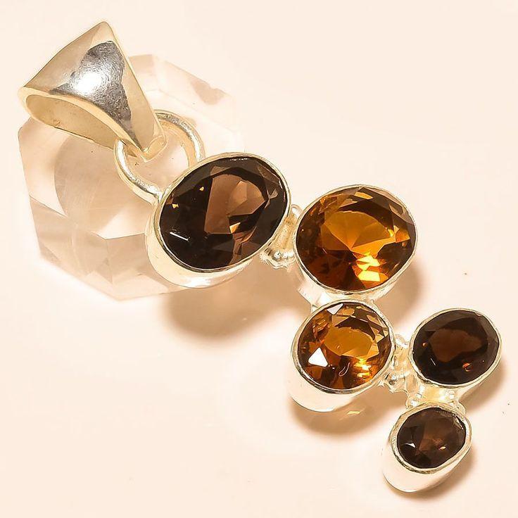 "SMOKEY TOPAZ 925 STERLING SILVER PENDANT 2.09"" in Jewellery & Watches, Fine Jewellery, Fine Necklaces & Pendants | eBay"