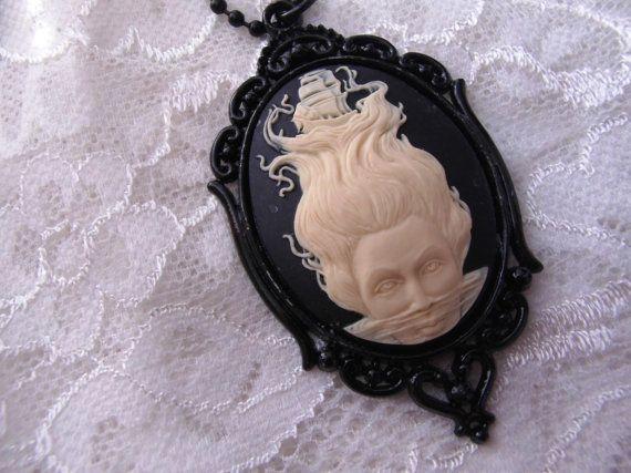 Halloween Schiff nautische schwarz Mermaid Gothic Steampunk Rockabilly Halskette Anhänger Cameo
