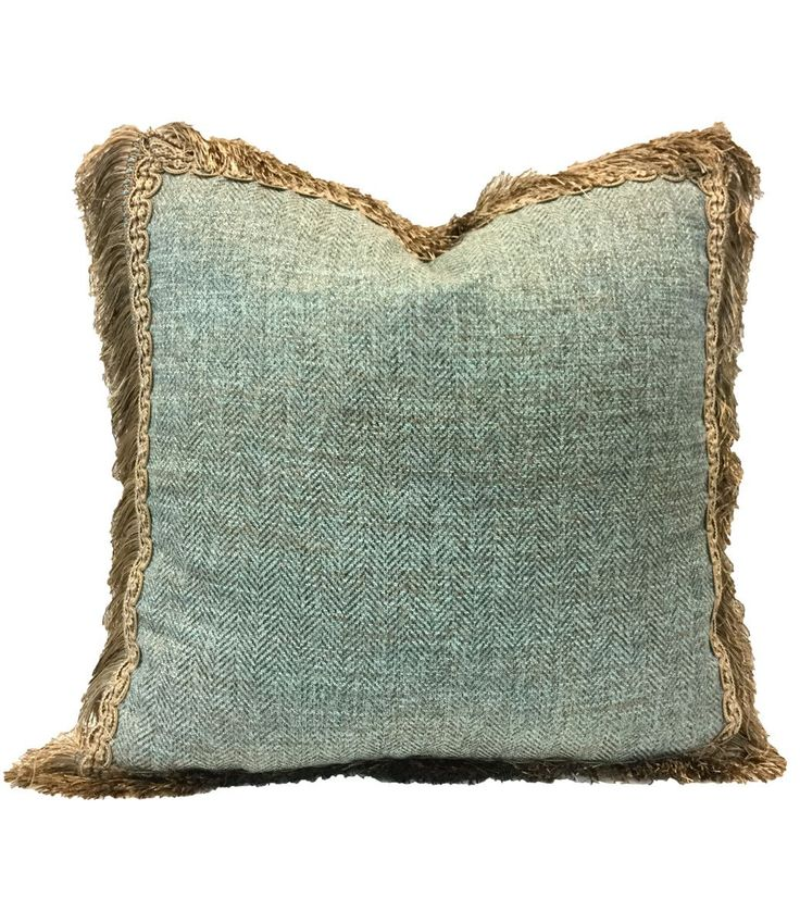 Decorative Pillows With Fringe Part - 24: The Paradise Collection Square Decorative Pillow Is Made From A Soft Blue  Textured Fabris And Is Finished Off With A Taupe And Tan Long Fringe.