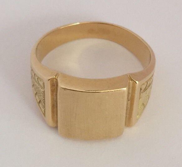 18K Solid Gold Signet Ring Best Price | eBay