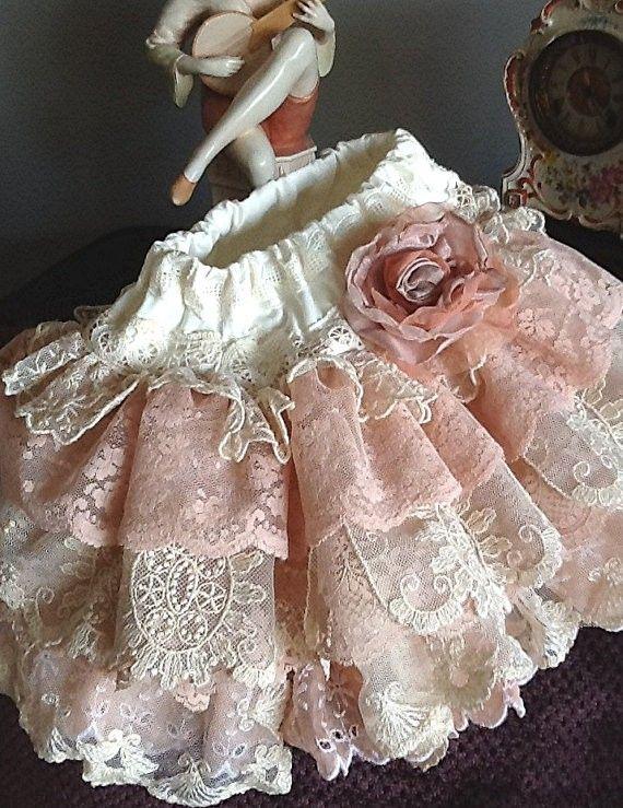 Easter Vintage Lace Ruffled skirt, Flower Girll ivory peach pink #2014 #easter #kids #girls #skirt www.loveitsomuch.com