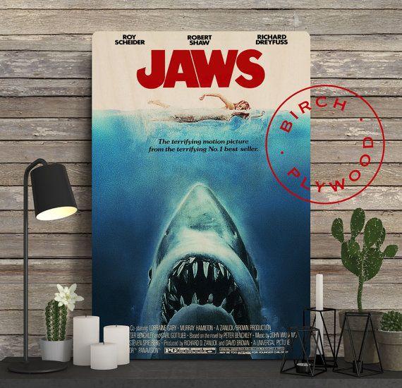 JAWS Movie Poster on Wood Steven Spielberg Film by InHousePrinting