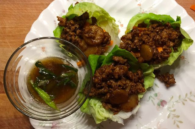 Thai Turkey Lettuce Wraps with Water Chestnuts and Dipping Sauce