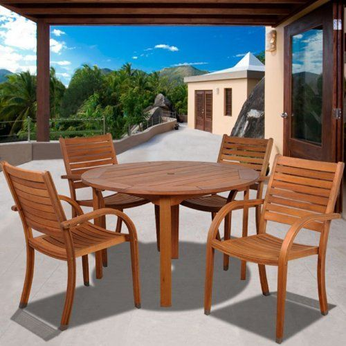 Kentucky 5 Piece Round Eucalyptus Patio Dining Set by International Home Miami. $1101.99. Comes with bonus FeronGard wood preservative for lasting beauty. Chairs stack for easy storage. Made of FSC-certified, plantation-harvested eucalyptus. Galvanized steel hardware reinforces sturdy construction. Some assembly required; table features umbrella hole. As elegant in form as it is lasting in function, the Kentucky 5 Piece Round Eucalyptus Patio Dining Set makes the...