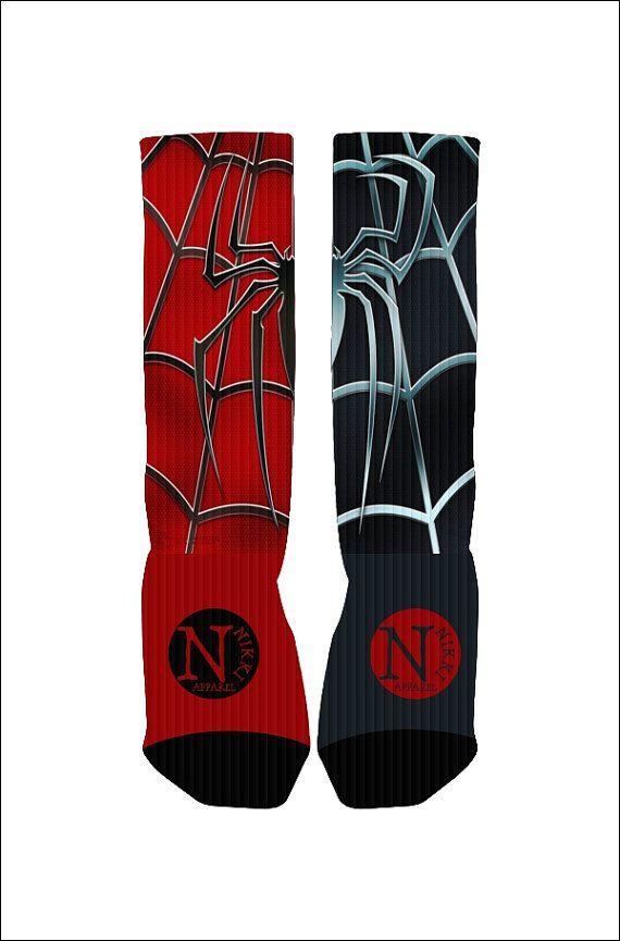 Custom Spiderman Socks Custom Nike Elite Socks by NikkisNameGifts, $18.00