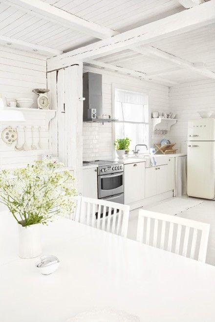 Beautiful weathered white kitchen