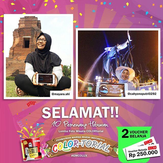 Inilah PEMENANG hiburan Lomba Foto Wisata COLORtorial EMCO! SELAMAT kepada @mayara.shi dan @cahyonoputri0292 😀Sertakan nama lengkap, alamat lengkap dan nomor telepon ke message fanpage/direct message/inbox EMCO Paint. ^_^  Hadiah berupa voucher belanja masing-masing sebesar Rp 250.000Selanjutnya siapa pemenangnya ya? ☺  #EMCOLUX, #COLORtorial #travelindonesia #pesonaindonesia #warna #ngecat #surabaya #jakarta #depok #tangerang #bogor #bekasi #bandung #bali #denpasar #jogja #semarang #solo…
