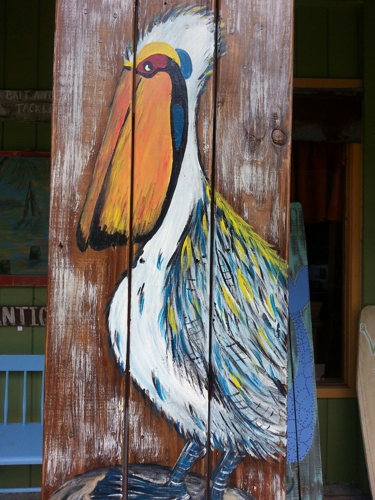 Party Pelican on Pallet Wood! Suzi Q Junktion in Apalachicola, FL