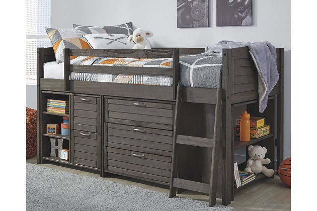 Caitbrook Twin Loft Bed With 1 Large Storage Drawer Ashley Furniture Homestore In 2020 Under Bed Storage Low Loft Beds Bed Storage